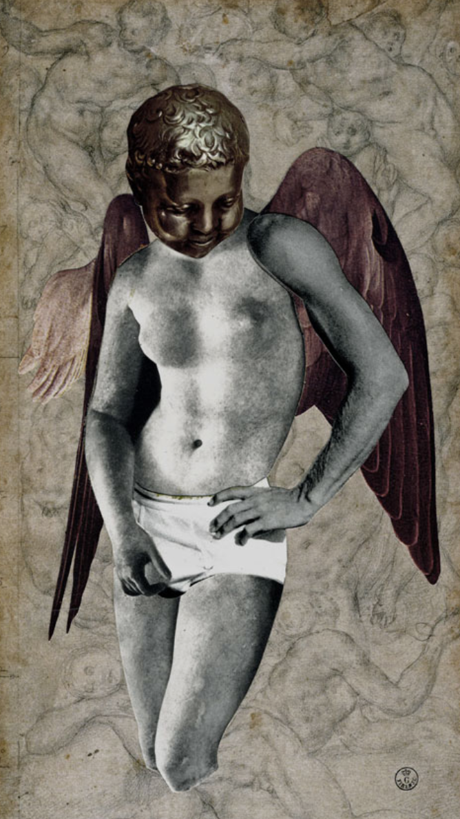 """Last Year Model,"" 2012, collage on paper, 10x5.5 in."