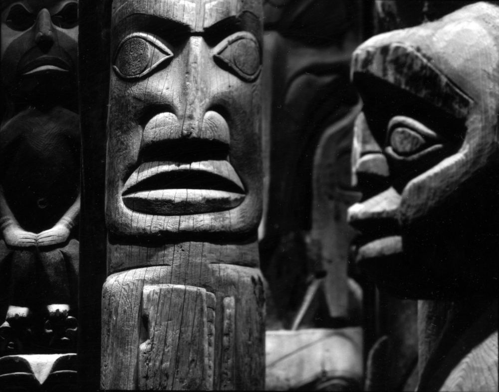 """Field Museum Alsdorf Hall of Northwest Coast Artic Peoples, Salish Totem Poles 19th -19th Century,"" 2009, photograph, 20x24 in."