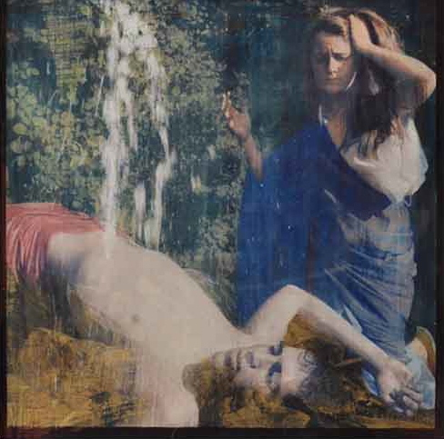 """Galatea et Acis,"" 2012, gum bichromate and paint on glass, 12x12 in."