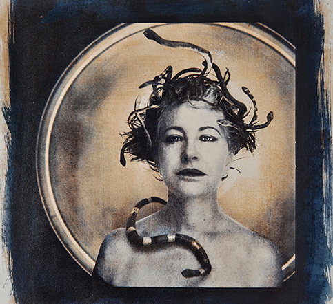 """Medusa,"" 2012, gum bichromate and paint on glass, 12x12 in."