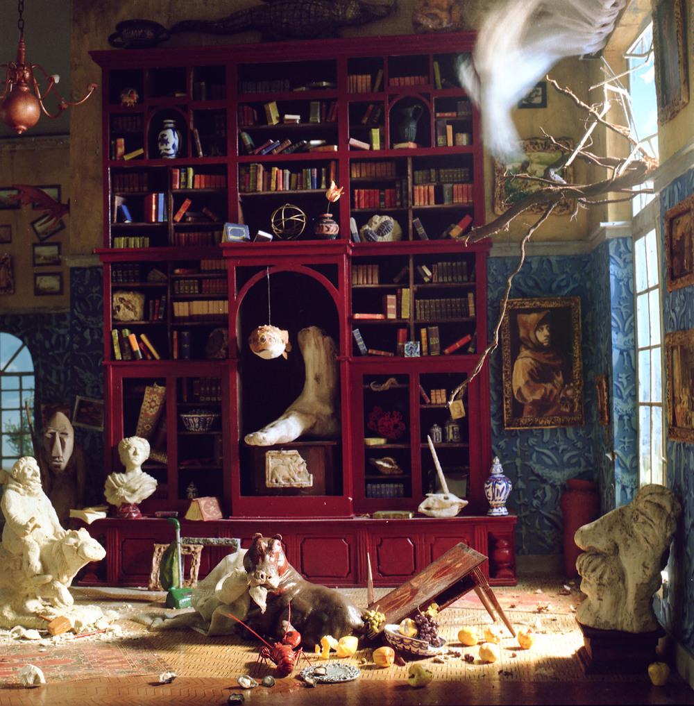 """La Bibliotheque,"" 2001, c-print, 8.5x8.5 in."