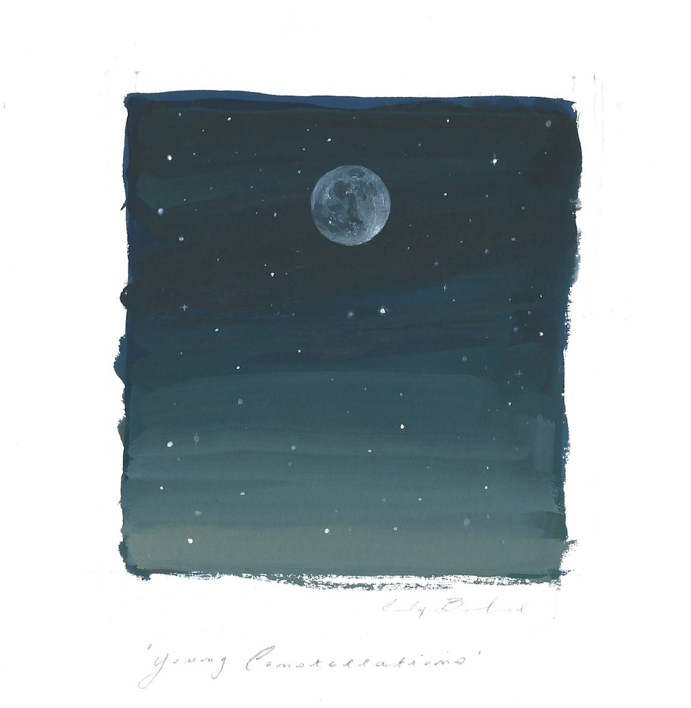"""Young Constellations,"" 2015, gouache on paper, 6x6 in."