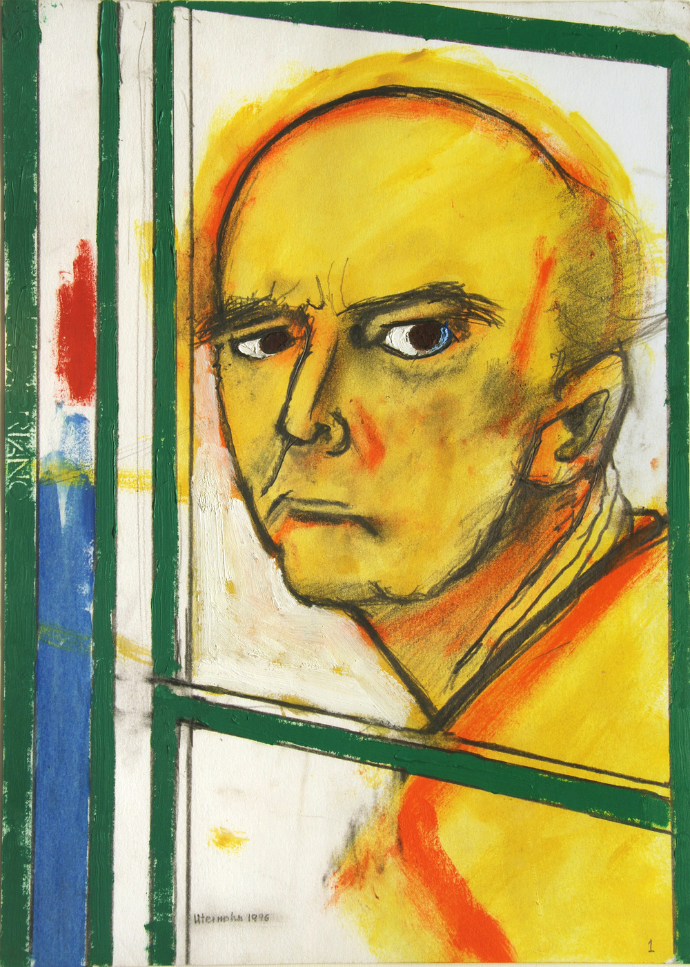 """Self Portrait (with Easel, Yellow and Green),"" 1996, archival ink jet print, 24x18 in."