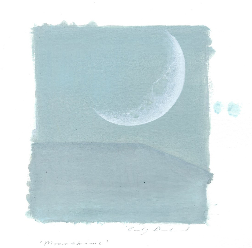 "Cindy Bernhard, ""Moonshine"", 2015, gouache on paper, 6x6 in."