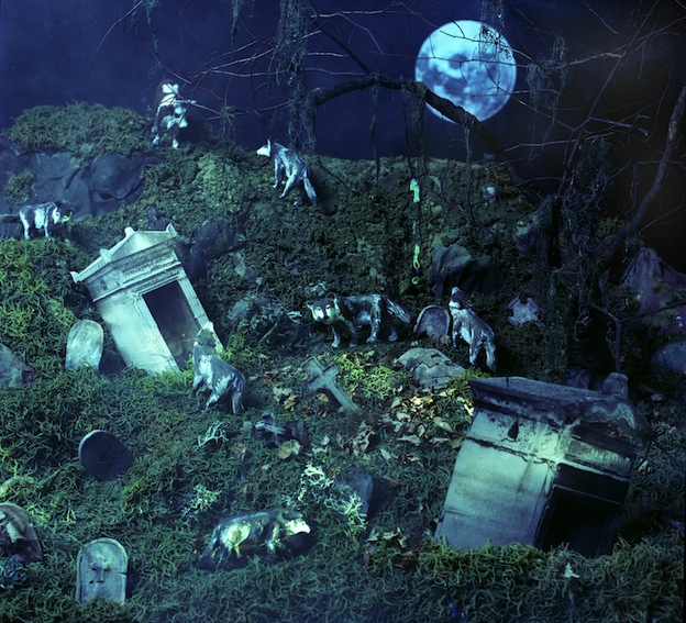 """Cow in the Cemetery,"" 1998, c-print, 19x17.5 in."