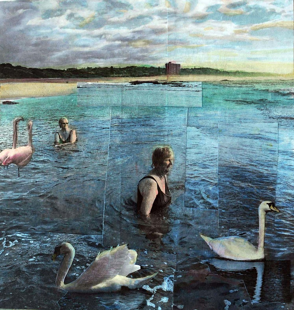 Early Morning Swim, 2015, hand-colored collaged photography by Vivian van Blerk.jpg