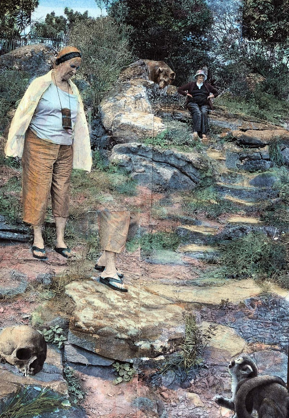Descent to Leopard's Rock, 2015, hand-colored collaged photography by Vivian van Blerk.jpg