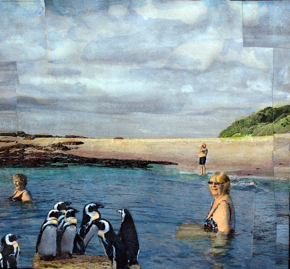 Jackass Penguins, 2015, hand-colored collaged photography by Vivian van Blerk.jpg