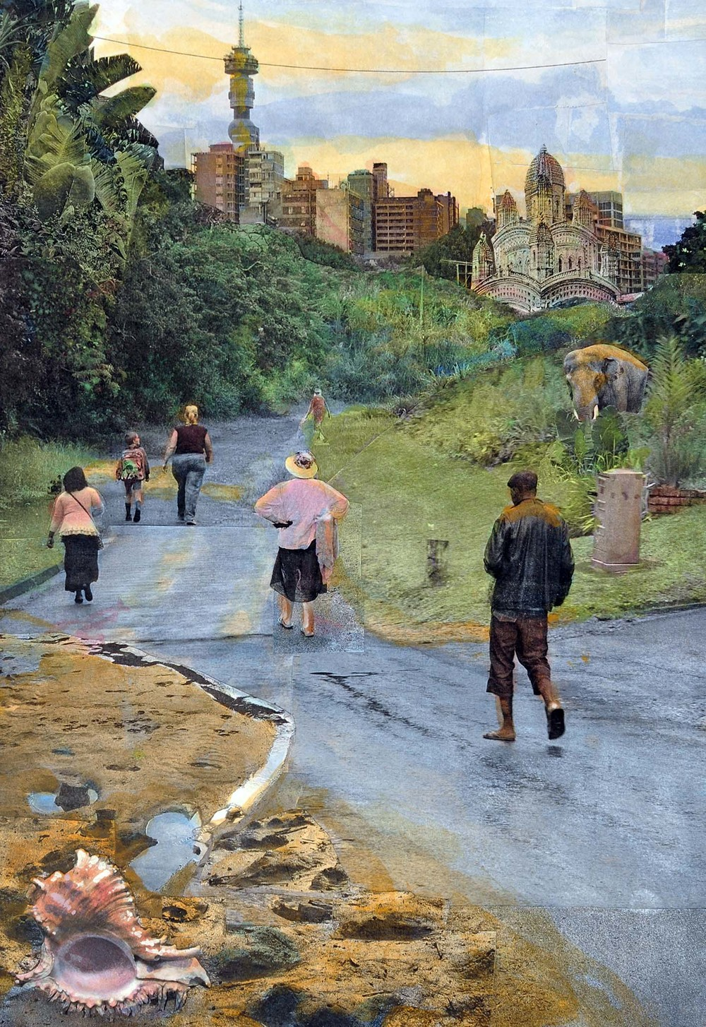 The Beachside Path to Port Shepstone, 2015, hand-colored collaged photography by Vivian van Blerk.jpg