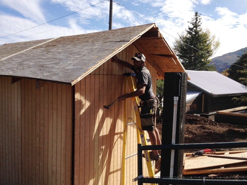 Joe working on the front mini barn structure