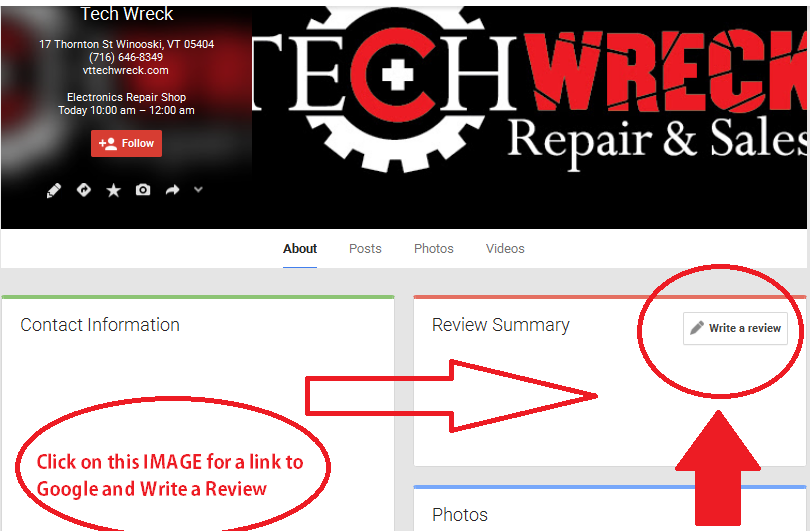 Tech Wreck Google Review
