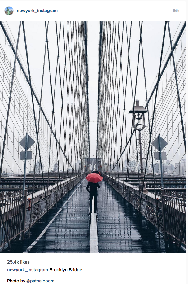 Image of the Brooklyn Bridge from the New York Instagram page.