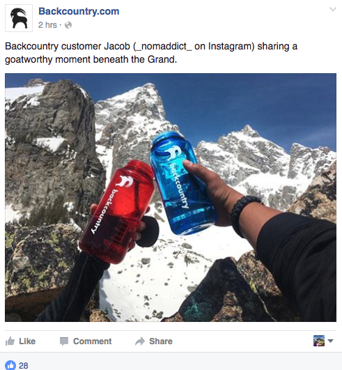 """Outdoor retailer Backcountry.com encourages user submissions that have the iconic Backcountry.com """"goat"""" logo sticker in various outdoor places, showcasing the outdoor culture at the retailer. Image courtesy of the Backcountry.com Facebook page."""