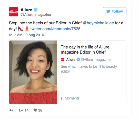 Allure Magazine is also a Moments publisher.  It uses Moments to promote it's magazine. Image from Twitter.com.