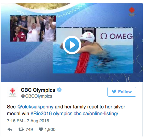 The moment when Canadian Olympic swimmer Penny Oleksiak discovered she won a medal was very popular. Image from CBC.ca Twitter account.