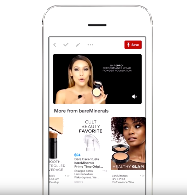 Pinterest video ad for bareMinerals makeup with buyable pins below shown. Image from YouTube.com