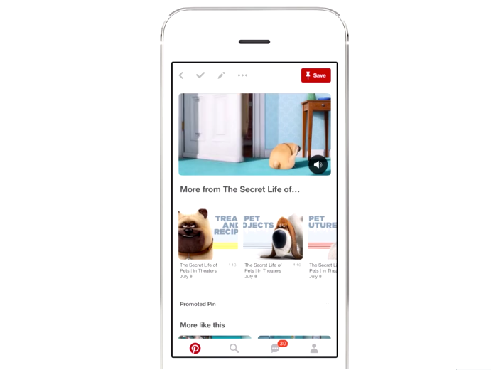 Universal Pictures is using Pinterest ads to promote their latest movie, The Secret Life of Pets. Image from Vimeo.com