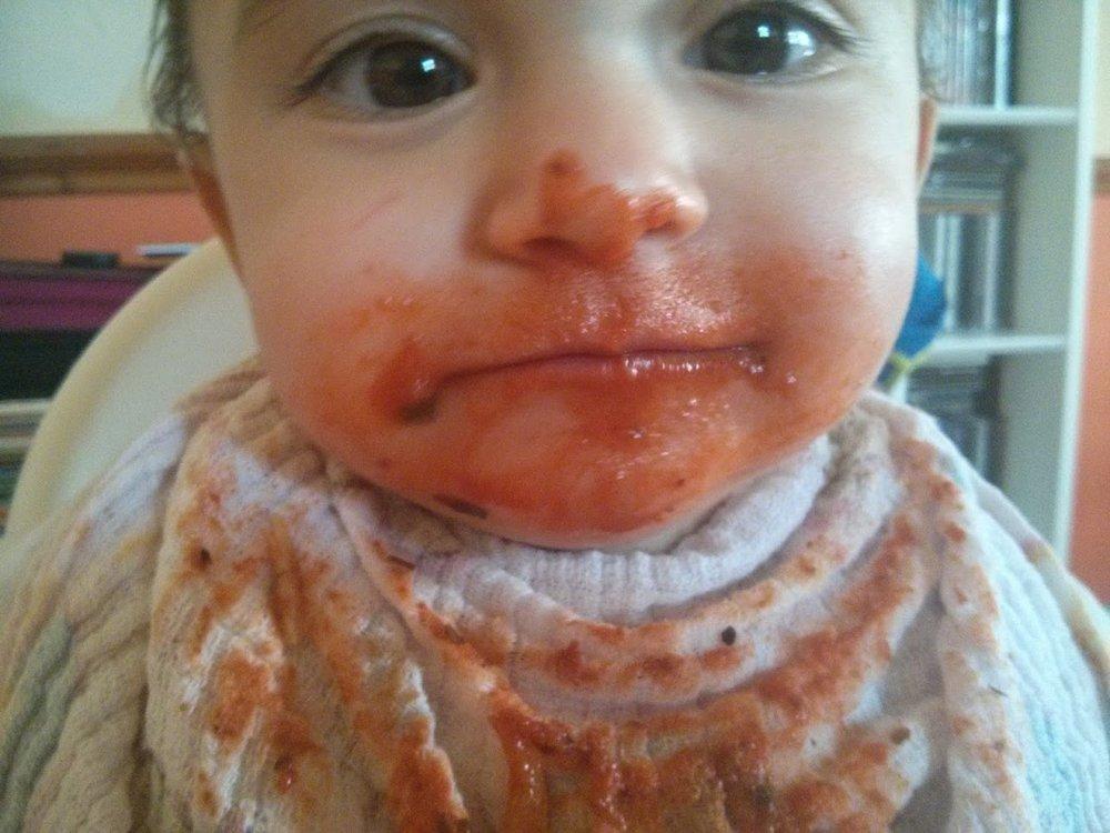 Tomato pasta, 11 months, still her favourite!