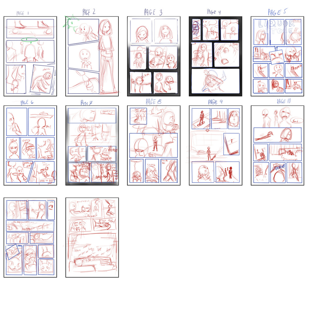 Original page layout sketches