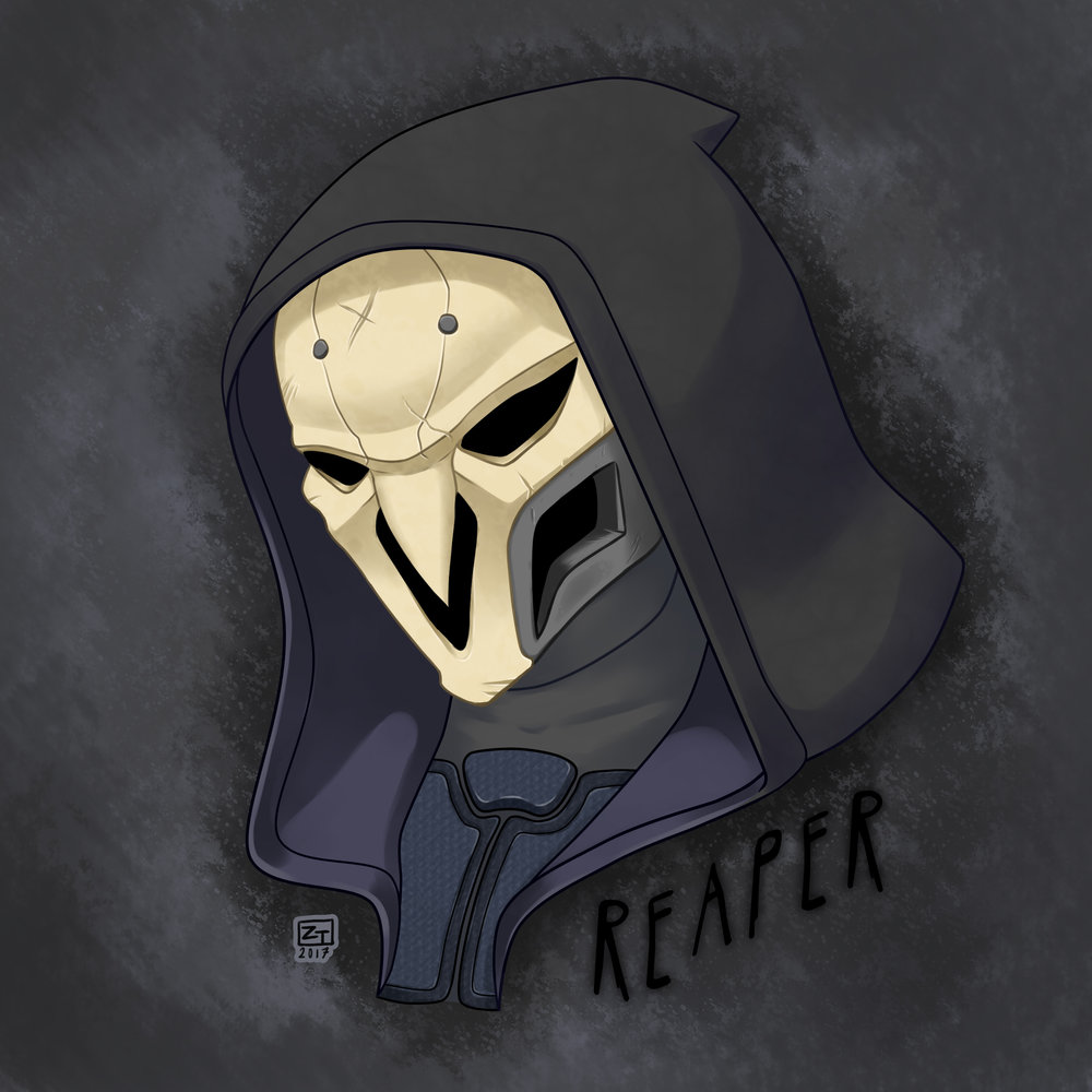 Reaper  bust fanwork (Overwatch; Game)   Paint Tool Sai/Photoshop, 2017