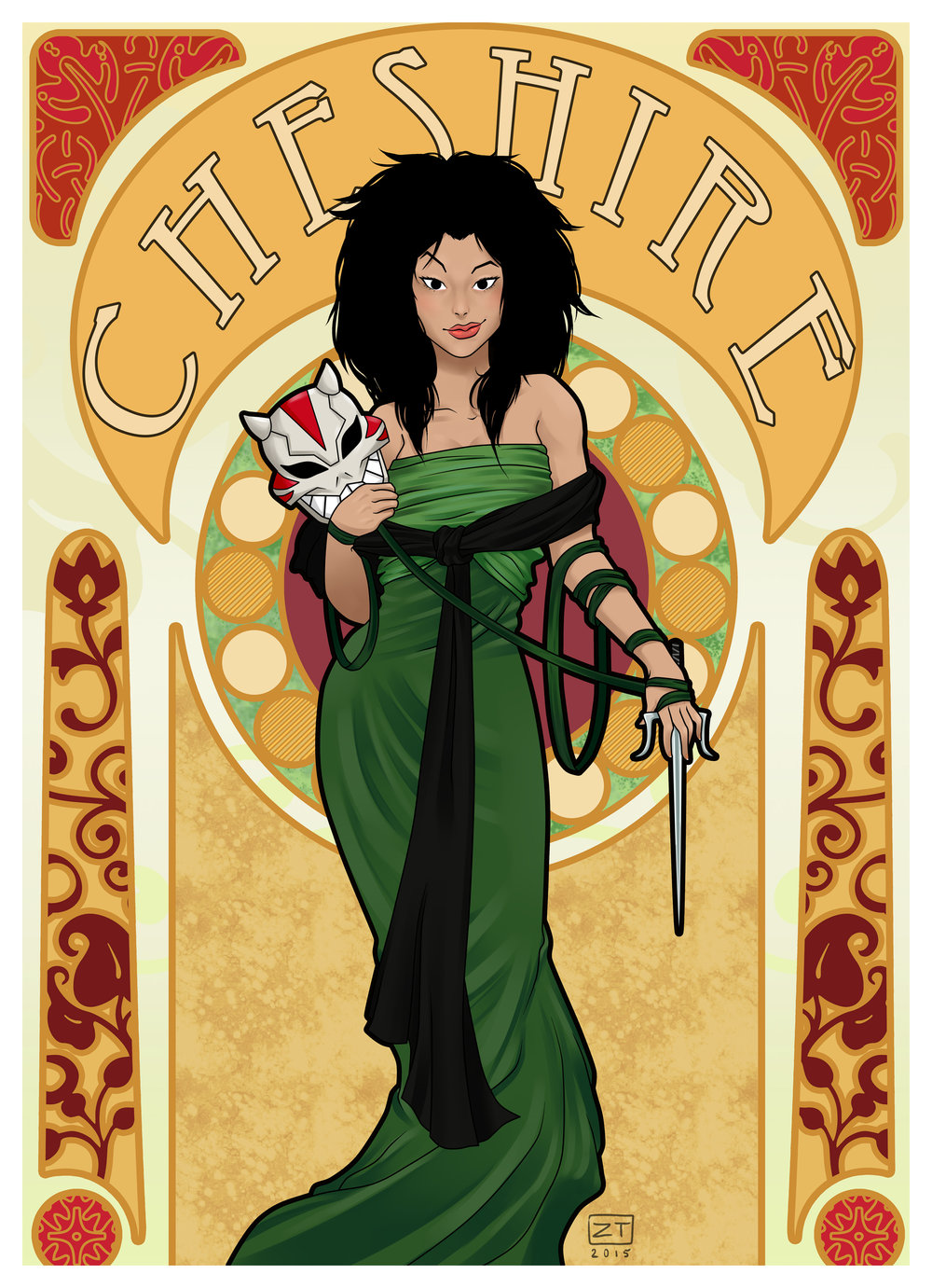 Cheshire  in the style of Mucha (Young Justice; TV series)   Paint Tool Sai/Photoshop, 2015