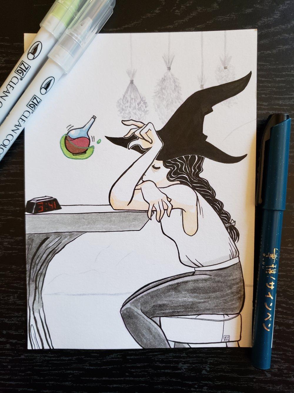Exhausted  - Day 7   Zig Brush Pens / Kuretake Brush Pen