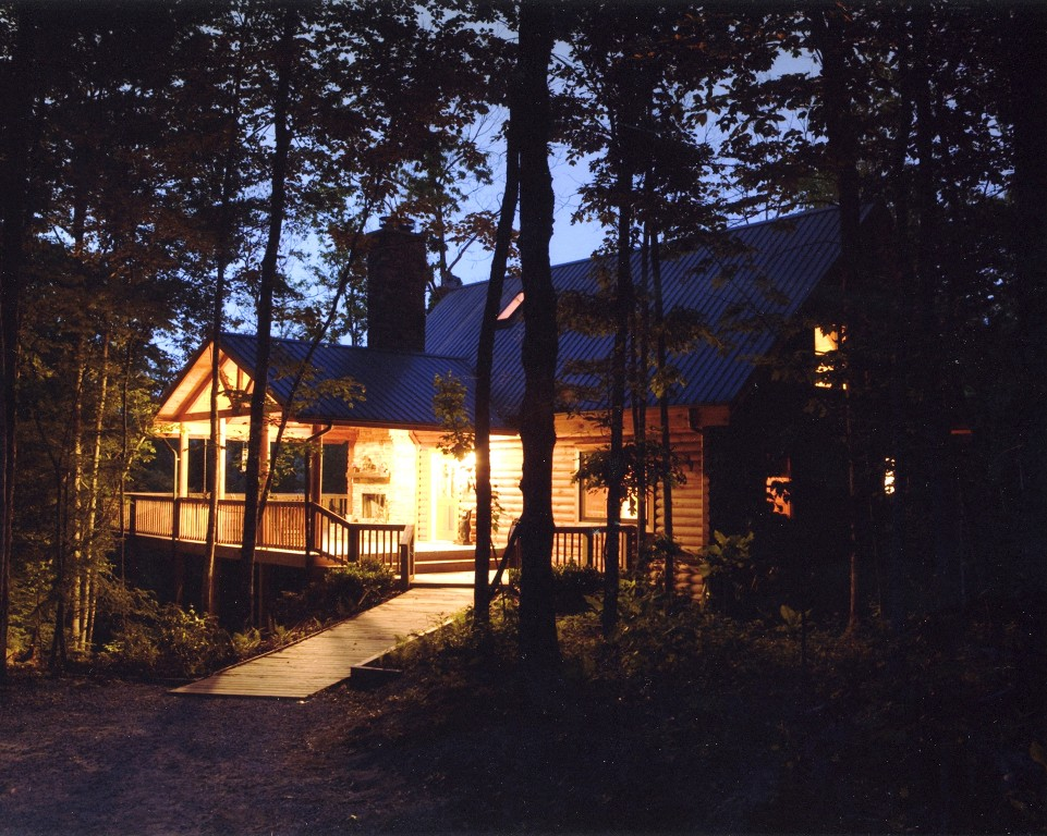 Hemlock Bluff cabin at night