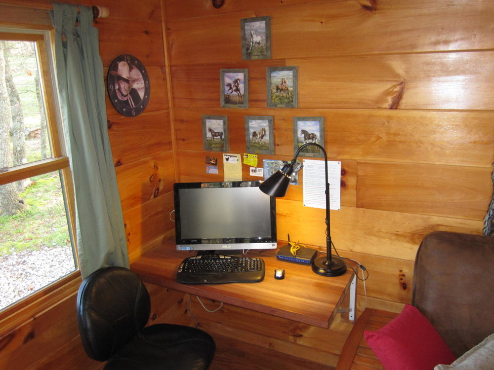 Computer workstation at Arabian Nights cabin.