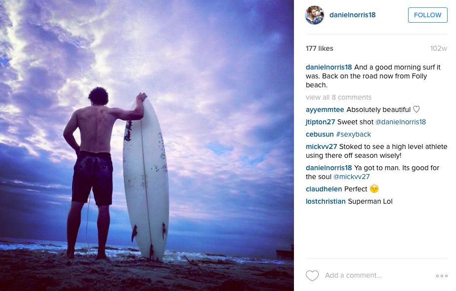 Daniel Norris Surfing