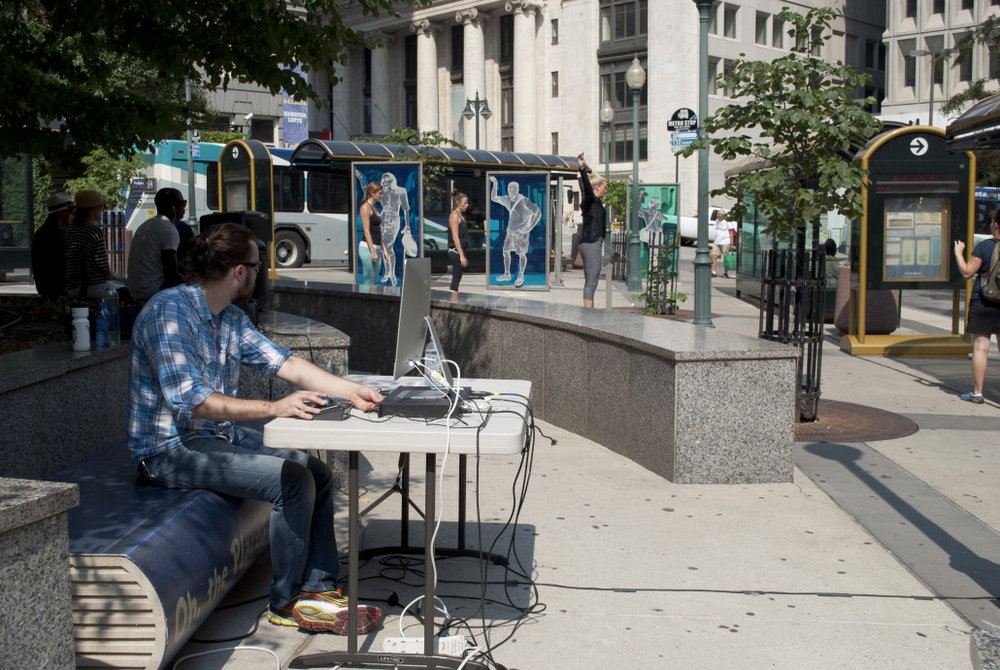 Downtown Replay 2015 - Composer Jon Robertson playing with live microphones positioned around KCATA Bus Terminal at 10th/Main