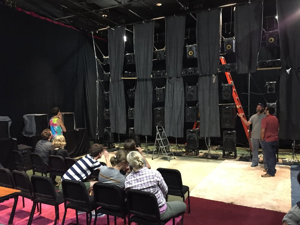 The first Sound Mandala - We built a 48-channel version of the Mandala in the UMKC black box theatre as part of a summer-long research project.