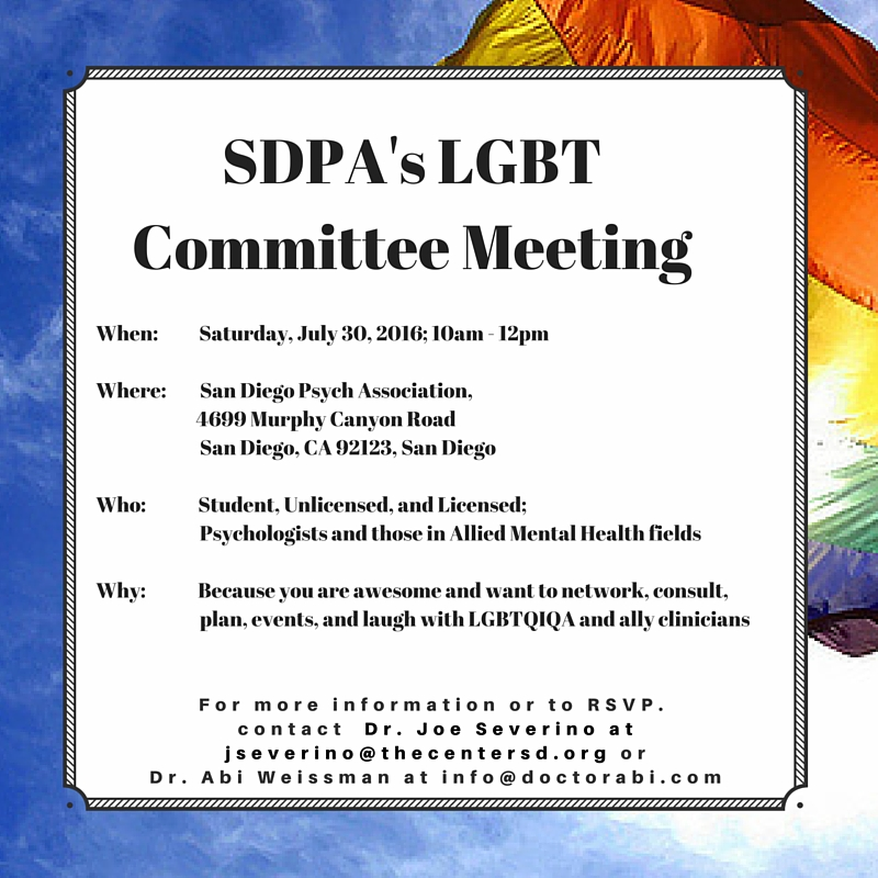 [Flyer with rainbow flag showing information for the July 30th SDPA LGBT Committee Meeting.]