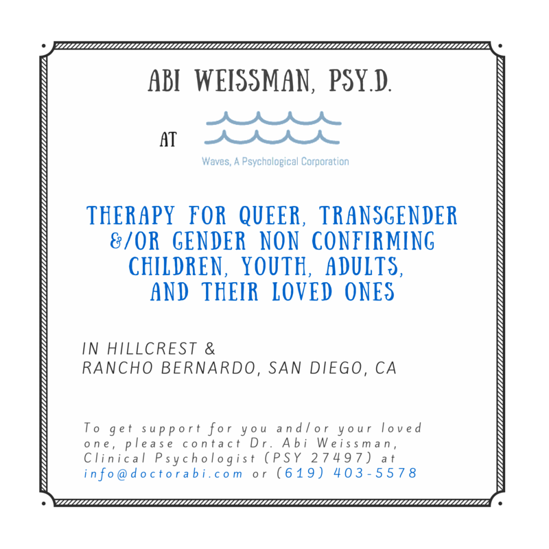 This blog post does not represent a therapeutic relationship with Dr. Weissman nor does it give absolute advice. Please talk with a licensed provider in your area for professional advice based on your individual situation.