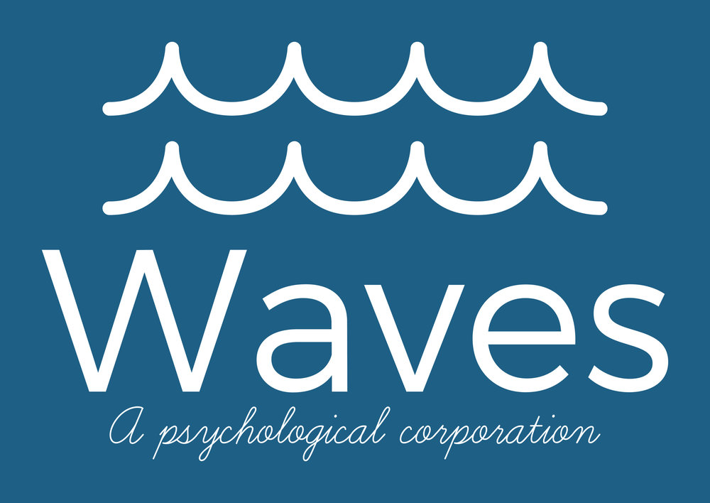 This picture depicts, Waves, a psychological corporation's logo, with its white letters and white drawing of waves on a blue background.