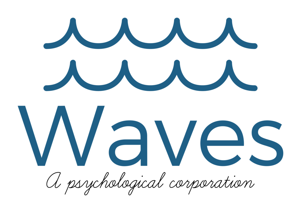 The logo of two blue waves with the Waves, A Psychological Corporation's name under it.