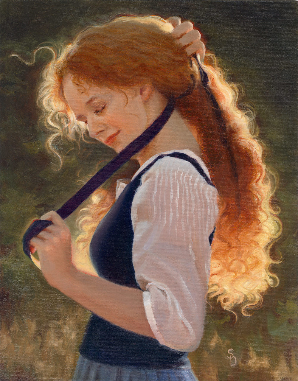 Ribbon's in My Hair - 14 x 11 Oil on Linen