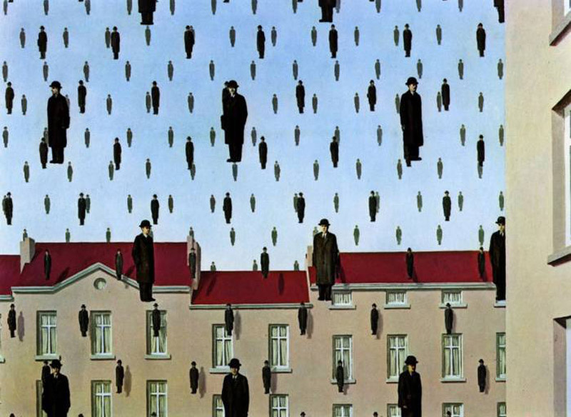 Rene Magritte,  Golconda  (1953), oil on canvas,  Menil Collection in Houston, Texas.
