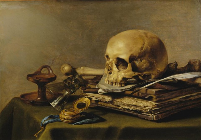 Pieter Claesz, Still Life with a Skull and a Writing Quill (1628), oil on wood, The Metropolitan Museum of Art.