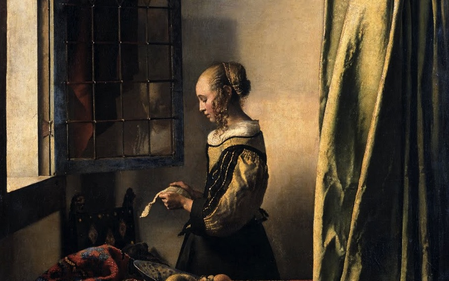 Johannas Vermeer,  Girl Reading a Letter at an Open Window  (1657-59), oil on canvas, Gemäldegalerie Alte Meister, Dresden.