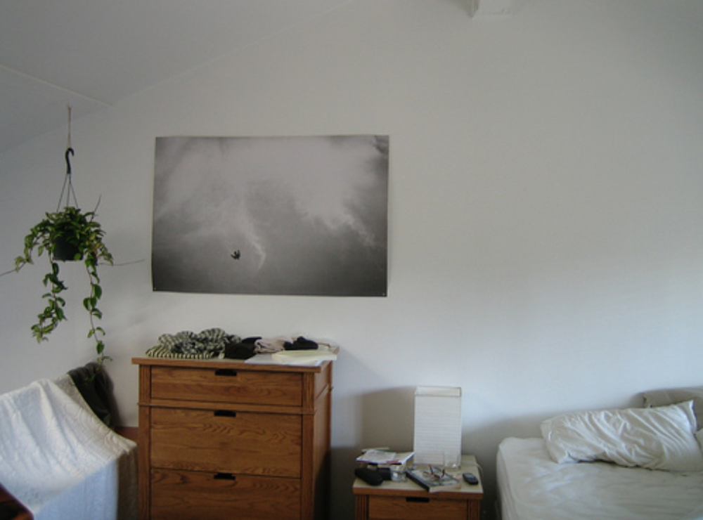 Felix Gonzalez-Torres print in someone's bedroom in Palo Alto. Image from http://openspace.sfmoma.org.