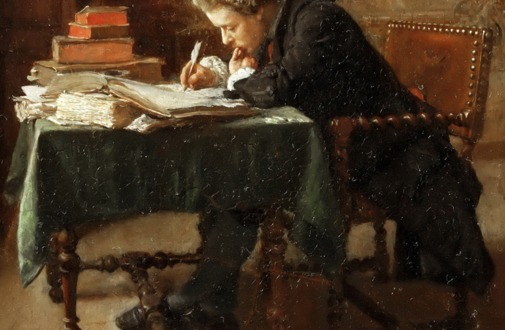 Jean-Louis-Ernest Meissonier,  Young Man Writing  (1852), oil on canvas, 23 x 16 cm.