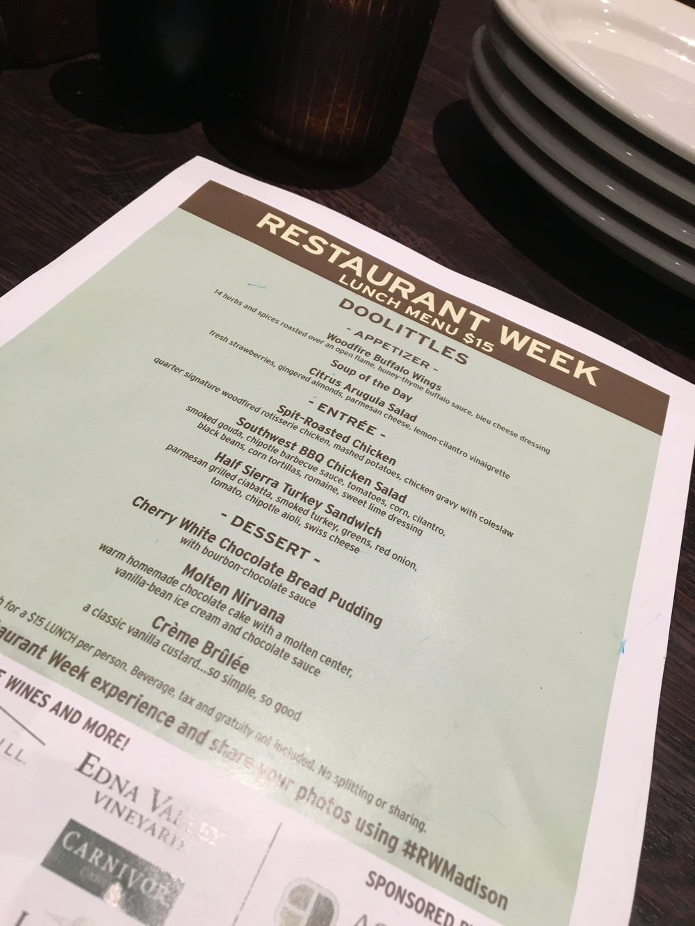 Restaurant Week Menu for Doolittles Woodfire Grill                                                                                                                           Photo by Epicurean Chronicles