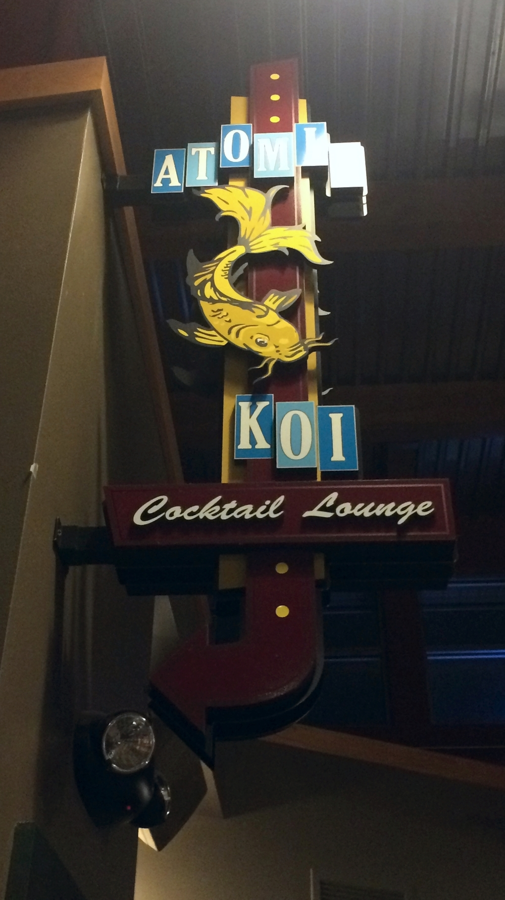 Atomic Koi sign                                                                                 Photo by Lynne Everson