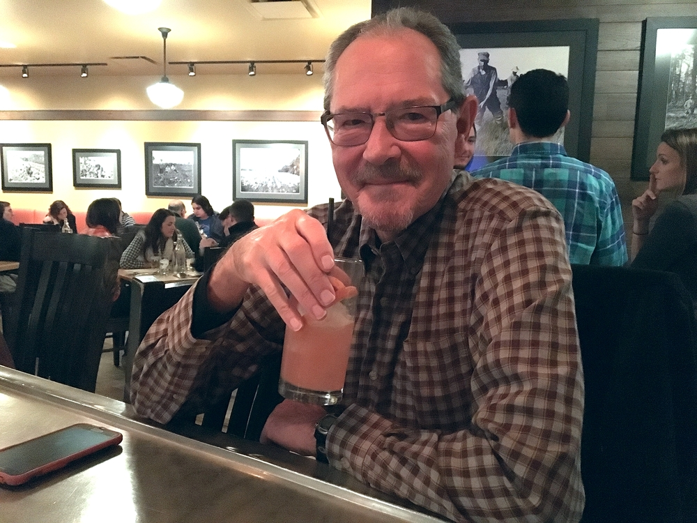 oliver's public house regular, Larry Sharp enjoying a tequilla mockingbird                                                                                    photo by epicurean chronicles