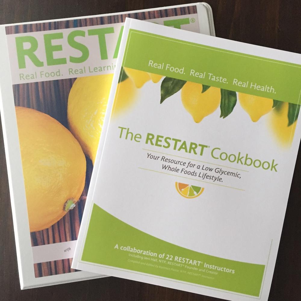 Printed workbook in 3-ring binder and official RESTART® cookbook.