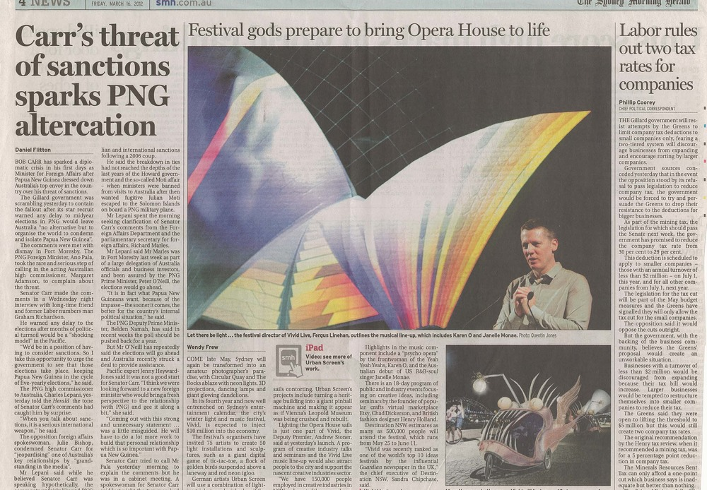 Sydney morning herald Spectrum -  MAR 2012