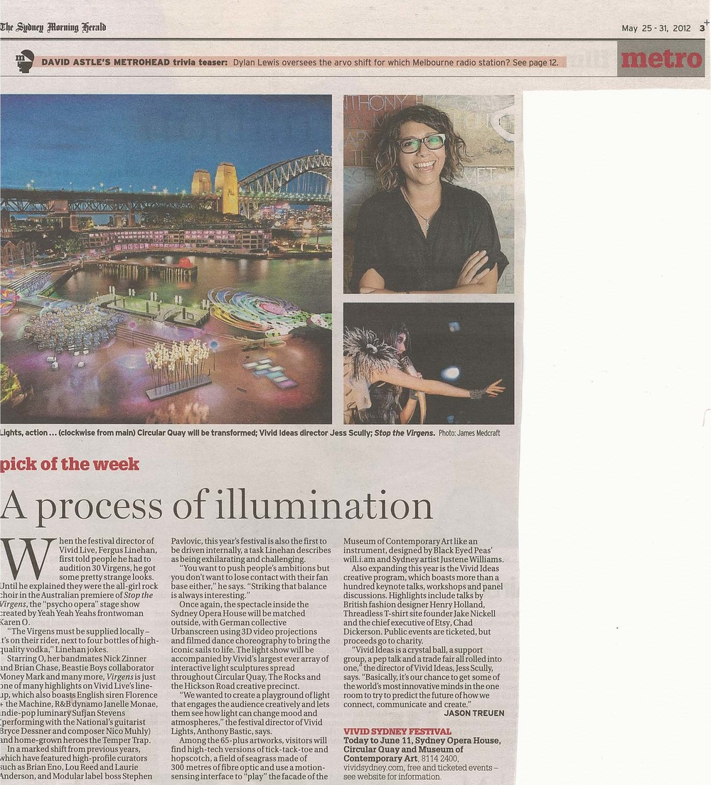 Sydney morning herald Metro -  MAY 2012