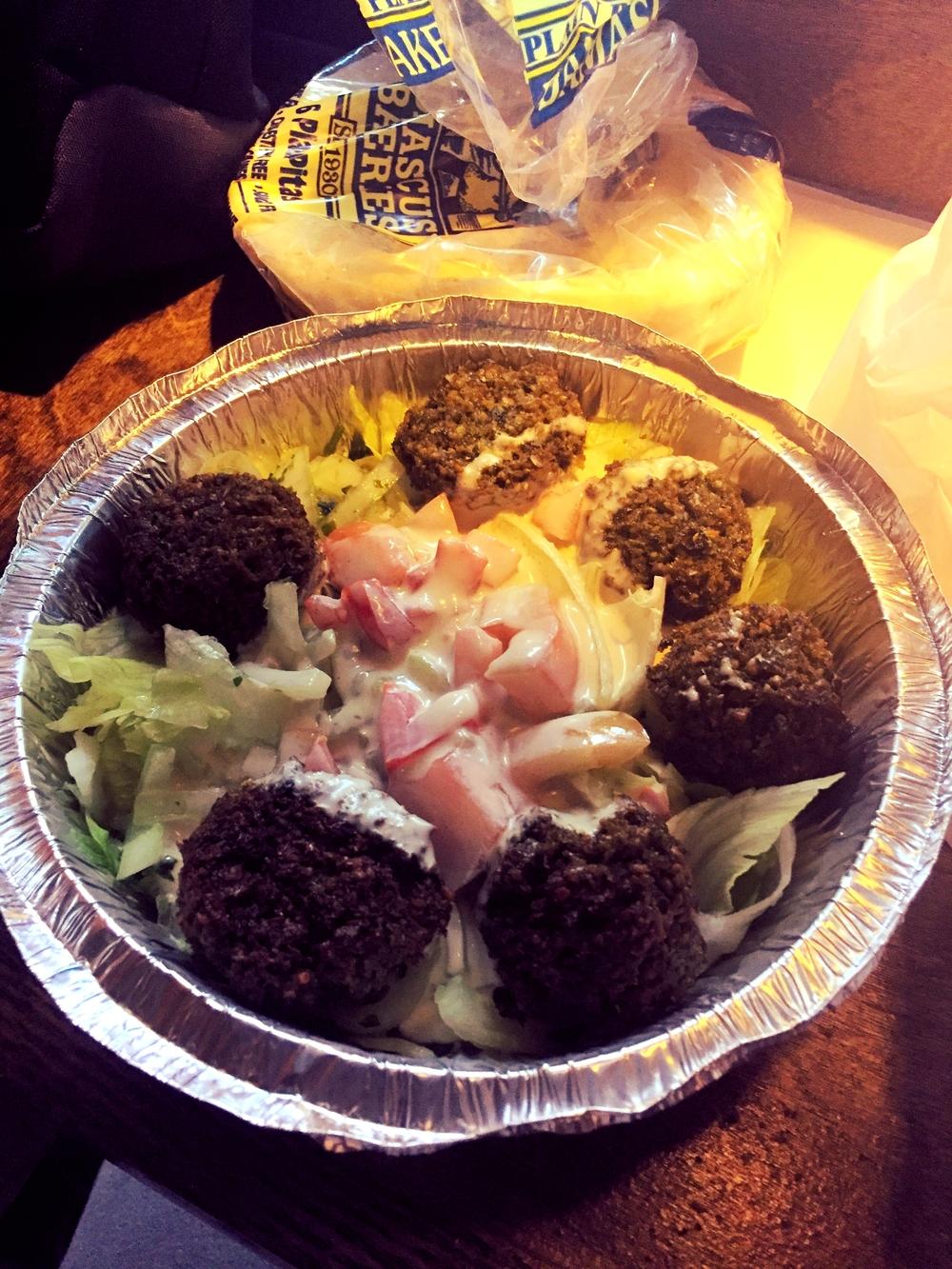 Falafel plate with pita; num num num