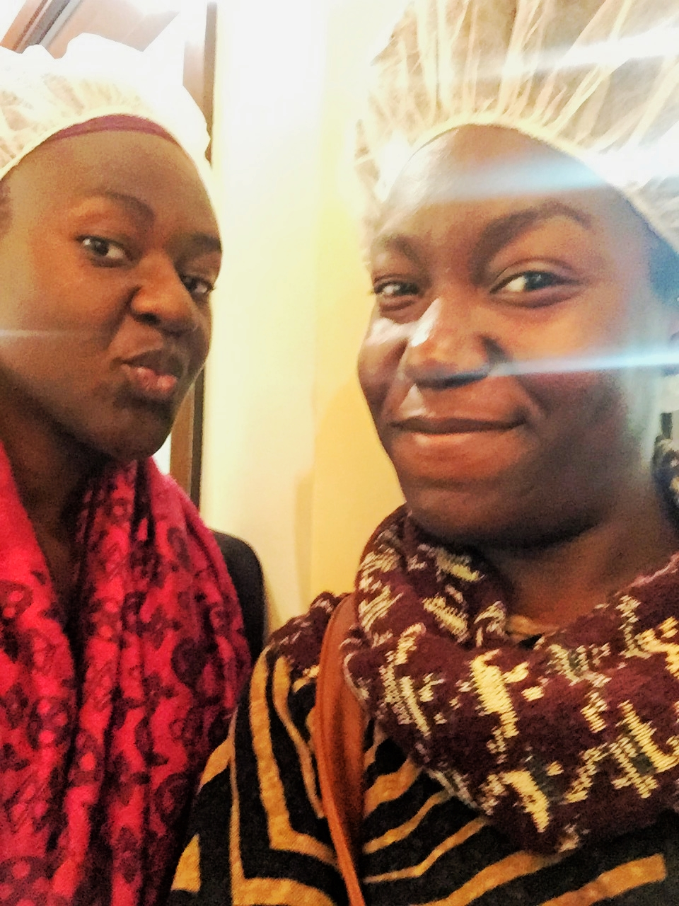 Hermancina & I!!! Hair-net....yes please; Hair-nets were crucial, of course. #NoHairInTheCocoa.
