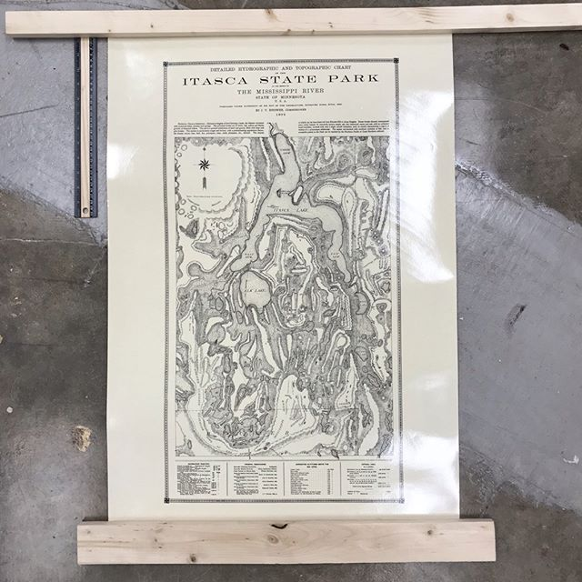 Auction closing at 8:00pm!! We have this gorgeous vintage Itasca State Park poster up for auction (Item #112), formerly used in a classroom in the 60s and 70s and beyond.  Laminated, ruler shown for scale.  Lots of other cool vintage posters too!  What a perfect gift for the camping lover in the fam! https://www.32auctions.com/MakeRoom